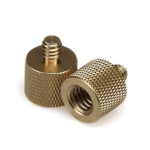 DIPAR-38-16-Female-to-14-20-Male-Tripod-Thread-Reducer-Adapter-Brass-NEW2-pack