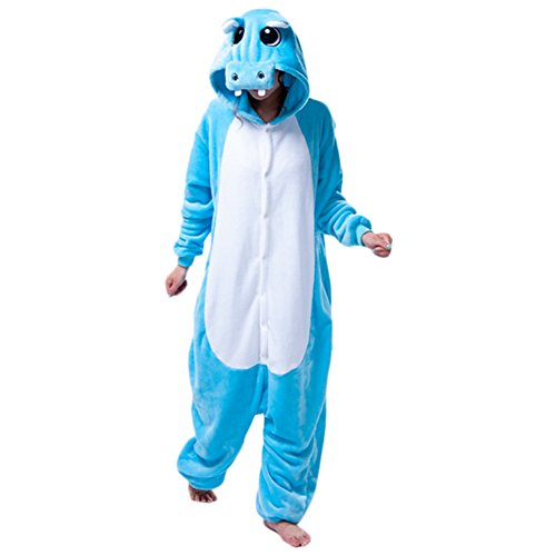 Cute Cartoon Animals Hippo Coral Fleece Piece Soft Pajamas Cosplay Costume Blue