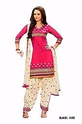 JJR Store Designer Pink Cotton Embroidered Dress material