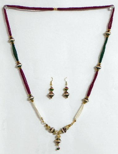 Maroon, Green And White Beaded Necklace With White Stone Studded Pendant With Earrings - Beads And Metal - B00K4F2E0U