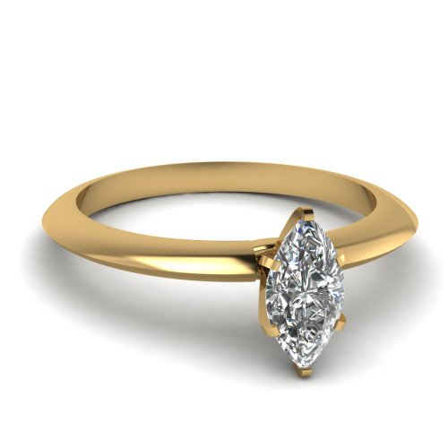 Fascinating Diamonds Knife Edge Solitaire Engagement Ring 0.60 Ct Marquise Cut Diamond 14K Gia