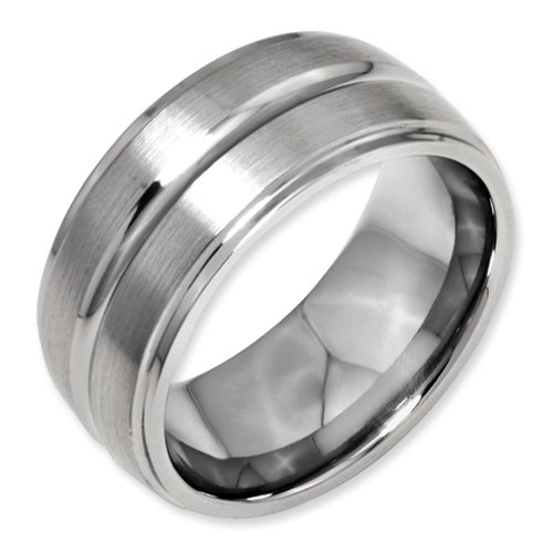 Titanium Grooved Ridged Edge 10mm Brushed and Polished Band Size 11