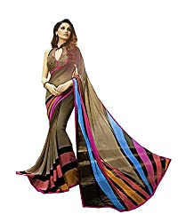 Pramukh saris Womens Georgette Printed Sari(Brown)