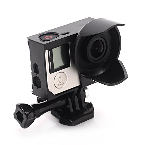 Nechkitter discount duty free Nechkitter Black Frame Mount Housing Anti-exposure Frame with Lens Hood for GoPro HERO 3 and HERO 3+ Hero 4 Cameras With Quick Release Buckle and Thumbscrew (Black)