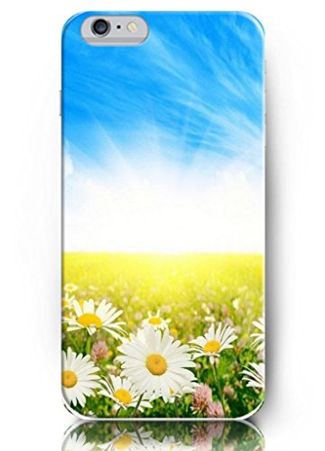 Ouo New Unique Beautiful Design Blue Sky And Daisy Field Hard Cover 4.7 Inch Iphone 6 Case Nature