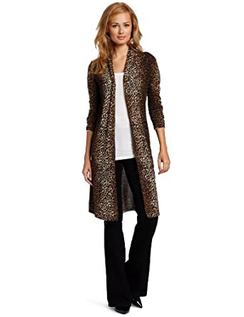 Sofie Women's 100% Cashmere Animal Print Long Sleeve Open-Front Long Sweater, Cheetah, Medium