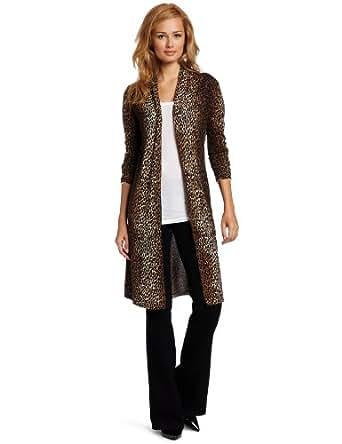 Sofie Women's 100% Cashmere Animal Print Long Sleeve Open-Front Long Sweater, Cheetah, Medium
