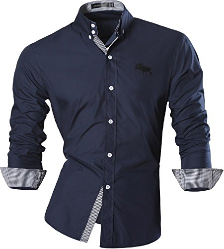 Jeansian Uomo Camicie Maniche Lunghe Moda Men Shirts Slim Fit Casual Long Sleves Fashion 8558 Navy S