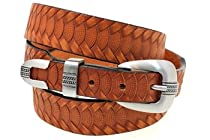 Orion Leather London Tan Bridle Leather Belt Tapered And Embossed 3-Piece Buckle Set Hand Crafted In USA