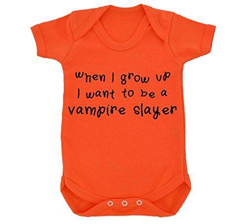 When I Grow Up I Want To Be A Vampire Slayer Design Body per neonato, colore: arancione/nero arancione 6-12 Mesi