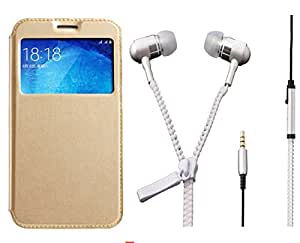 Novo Style Samsung Galaxy Grand Prime G530 Window View Premium Folio Flip Cover Case W Stand View + Zipper Earphones/Hands free With Mic 3.5mm jack
