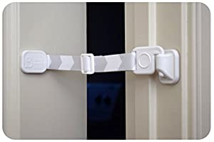 Door Buddy Child Proof Door Lock with Simple Latch and Adjustable Strap. Replaces Need for Inconvenient Baby Gate. Better way to Baby Proof Litter Box or any unwanted room. Cats Enter Easily. Installs in Seconds and is Easy and Convenient to Use.
