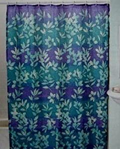 Ombre Leaves Fabric Shower Curtain Teal Royal