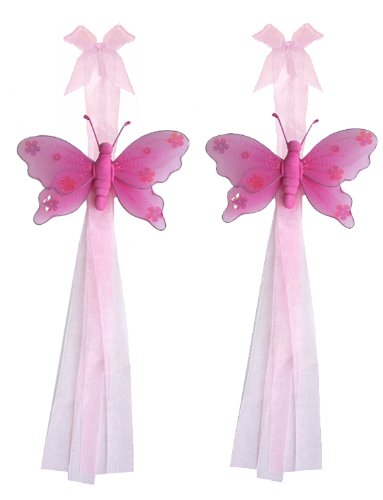 Dark Pink (Fuschia) Jewel Butterfly Curtain Tieback Pair / Set - tiebacks holder sheer tie backs, nylon nursery bedroom girls room ceiling wall decor, wedding birthday party baby bridal shower