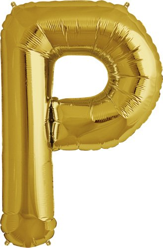 Letter P - Gold Helium Foil Balloon - 34 inch - 1