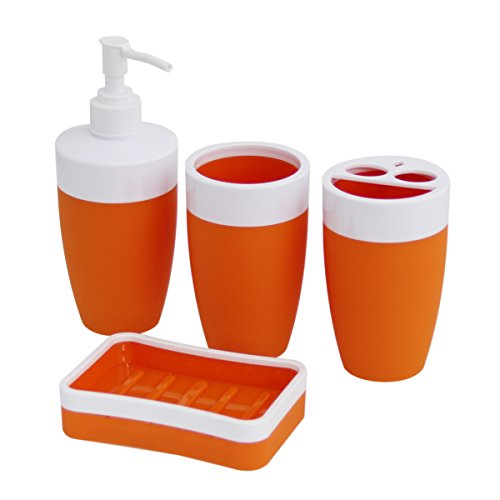 Justnile Plastic Rubber 4 Piece Bathroom Accessory Set Modern Orange Home Garden Accessories Sets