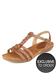 Footglove&#8482; Original Leather Wide Fit Plait Gladiator Sandals
