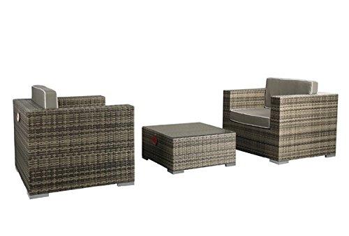 Rattan Lounge Espace Exclusive Set 3 - 6 Sitze inkl. Kissen - Farbe: Grau meliert