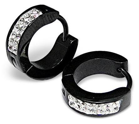 Pair of Black Small Huggie Hoop Earrings with Clear Crystals (Diameter: 13mm. Width: appx 4mm) Stainless Steel (will not tarnish/fade) Supplied in Gift Pouch