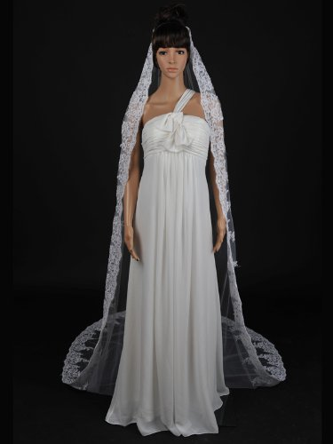1 Tier Cathedral Length Tulle Comb Wedding Veil with Appliqued Hem,White