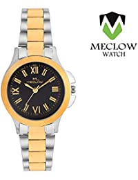 Latest Design Silver Golden Metal Strap Watch, Round Gold And Black Dial Analog Watch For Girls, Ladies And Womens...