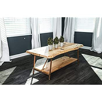 "Niangua Furniture Live Edge Rustic Coffee Table - Hickory Wood - Metal Copper Pipe Legs - 48"" x 23"""