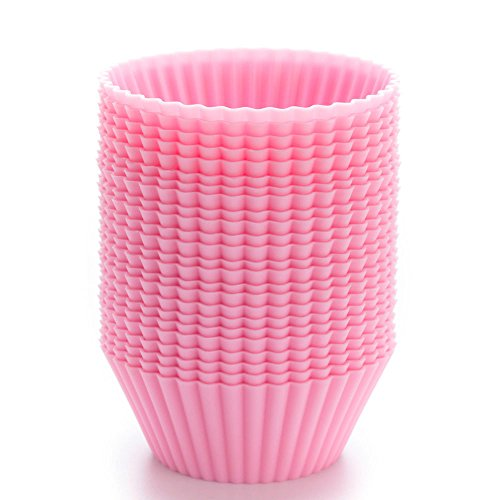 LAVAVIDA Silicone Cupcake Liners Pink, 24 Pack Muffin Holders, Resuable and Nonstick Baking Cups, Standard Size Cake Molds (Foot Long Corn Dog compare prices)