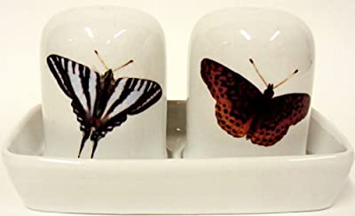 Butterflies Salt & Pepper Set on Tray Porcelain Salt Pepper & Tray Set Hand Decorated in the UK Free UK Delivery