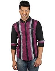 Le Tailor Men's Slim Fit Casual Stripes Shirt
