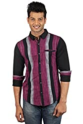 Le Tailor Men's Slim Fit Casual Stripes Shirt ( SLCFS102,Black & Maroon,L )