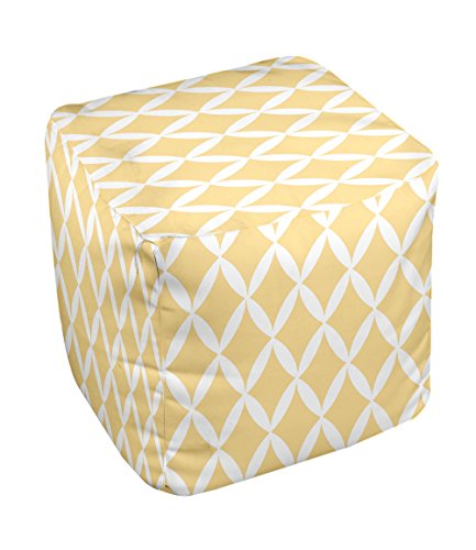 E by design FG-N1-Yellow-18 Geometric Pouf - 1