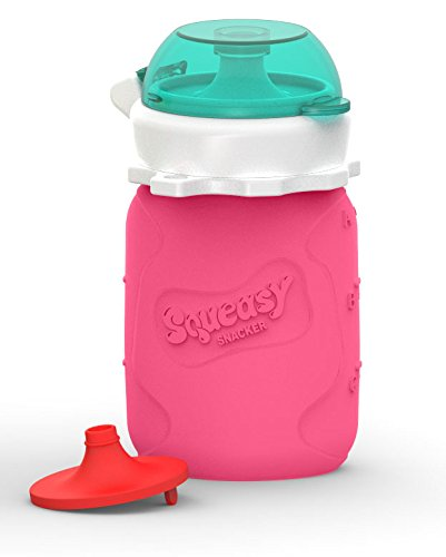Squeasy Snacker 3.5oz 100% Food Grade Silicone Reusable Food Pouch, featuring the No Spill Insert - Pink (Silicone Yogurt Baby compare prices)