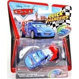 Disney / Pixar CARS 2 Movie 155 Quick Changers Race Raoul Caroule with Crash Damage