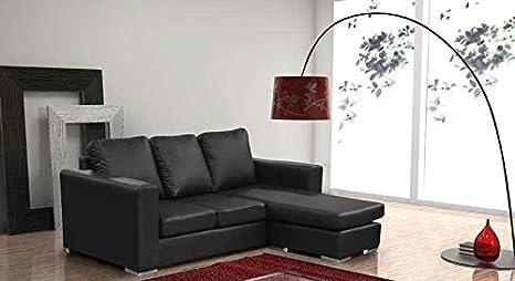 Negro sofá en esquina en piel artificial