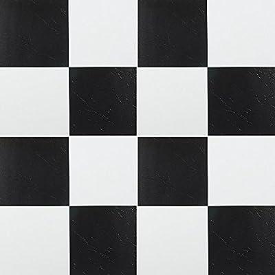 140 Pieces Black White Checkered Vinyl Floor Self Stick Tiles Adhesive Flooring 12''x12'' 103