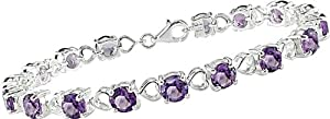 Amethyst and Heart Link Bracelet in Sterling Silver