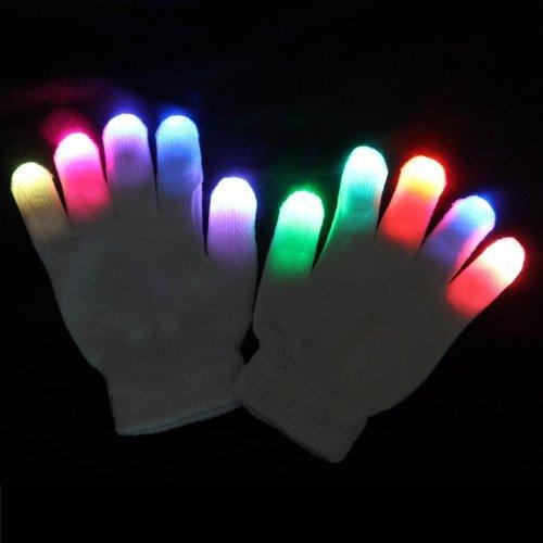 Urparcel White Raver Gloves, 6 modes, Multicolor, Red+Green+Blue LED lights in each fingertip, Small