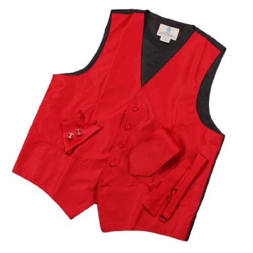 Red Solid Mens Fashion Designer Vest With Necktie For Man, Cufflinks, Hanky, Bow Tie Set For Tuxedo Vs1005-M Medium Red