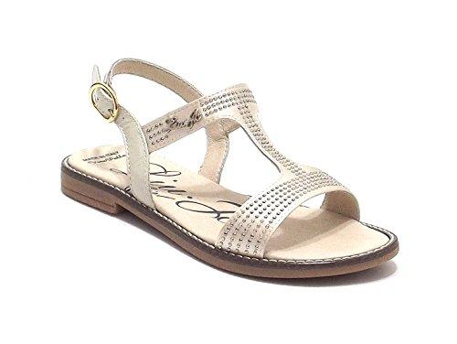 Liu Jo scarpe bambina, modello 21334, sandalo in raso con microborchie, colore champagne