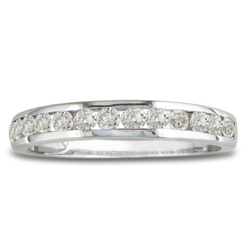 10K White Gold Round Diamond Anniversary Wedding