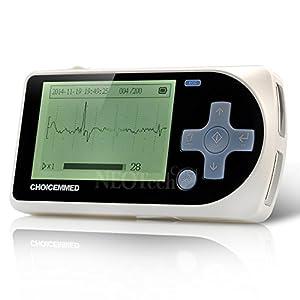 ECG portable (FONCTIONNE EN ANGLAIS), Électrocardiogramme / Cardiofréquencemètre, Appareil EKG, Moniteur cardiaque portatif (MD100A15) - Logiciel & câbles et 1 sachet d'électrodes INCLUS!
