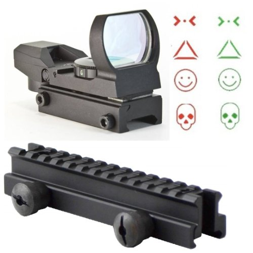 "Ultimate Arms Gear Qd Tactical 1"" Weaver-Picatinny High See Thru Stanag Riser Mount For Ar15 M4 Flattop Rifle Scope + Cqb 4 Multi Reticle Dual Red / Green Combat Specialist Edition Open Reflex Sight With Weaver-Picatinny Rail Mount - Combo Combination Pac"