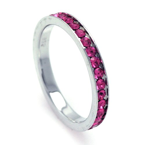 2.5mm Sterling Silver Channel Set Cubic Zirconia October Birthstone Pink Tourmaline Simulant Eternity Ring Band (Sizes 3 to 9) - Size 3