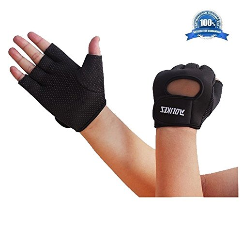 Wonzone Anti-skid Half Finger Gloves unisex Cycling Bike Bicycle Gel Gloves Half Finger Ultra-breathable Outdoor Sports Shockproof half finger Glove for Women Men Kids Girls Boys Teens (Black S)