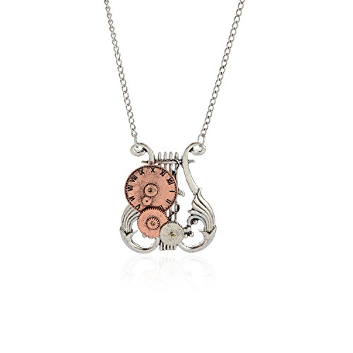 AOLOSHOW Vintage Watch Dial Clock Gears Lyre Pendant Steampunk Necklace