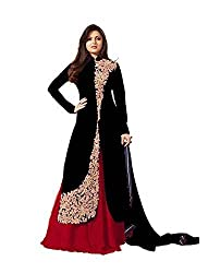 Pal Export Women's Georgette Semi Stitched Dress Material (Pack of 5) (BL-Black_Black_Free Size)