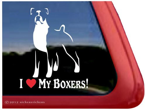 I Love My Boxers! ~ Dog Vinyl Window Dog Decal Sticker front-486436