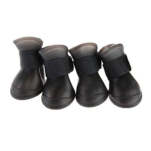Floveme 4 x Pet Dog Cute Stivaletti Scarpe-Stivali di protezione impermeabile in PVC, colore: nero, taglia: M