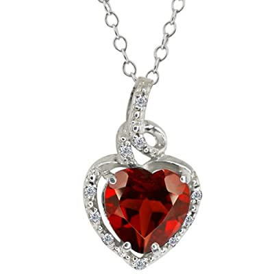 2.07 Ct Heart Shape Red Garnet White Diamond 14K White Gold Pendant