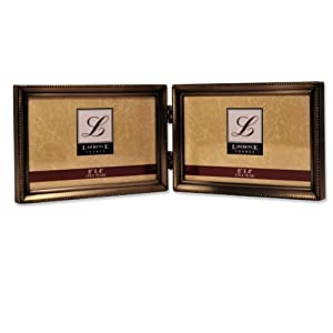 Lawrence Frames Antique Brass 4x6 Hinged Double Horizontal Picture Frame - Bead Border Design